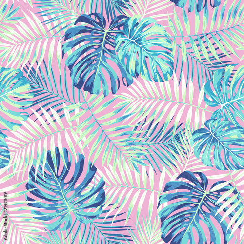 Fototapeta na wymiar Tropical leaf design featuring blue/green palm and Monstera plant leaves on a pink background. Seamless vector repeating pattern.