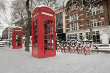 Red Telephone Box In A Snowy L...