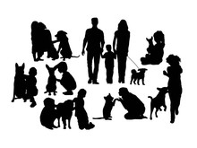 Dog And His Master Silhouette, Art Vector Design