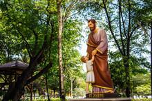 Saint Joseph And The Infant Jesus Outside Saint Joseph Catholic Church, Ayutthaya Thailand