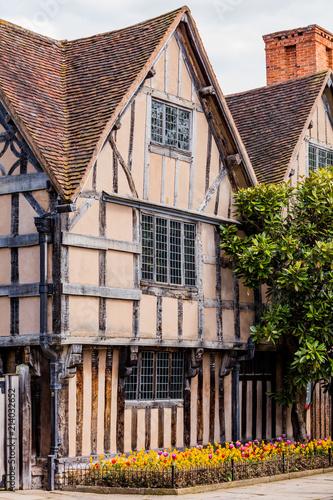 Fotografie, Obraz  half timbered buildings stratford upon avon england uk