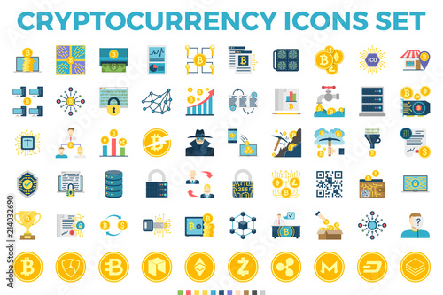 Cryptocurrency and Blockchain Related Flat Icons Wallpaper Mural