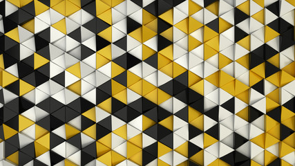 Panel Szklany PodświetlanePattern of black, white and yellow triangle prisms