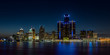Detroit, Michigan skyline at night shot from Windsor, Ontario