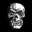 Rock and Roll, Forever Young hand-drawn black and white lettering with skull
