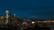 Seattle Skyline Lit Up At Nigh...