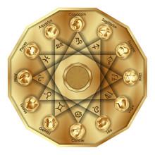 Zodiac Signs In Polygon, Gold ...
