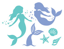 Silhouette Of Swimming Mermaid...