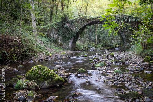 Staande foto Brug river crossing old roman bridge