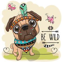 Cartoon Tribal Pug Dog And Wit...