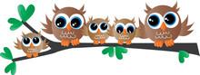 Cute Owl Family Sitting On A B...