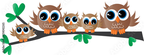 Poster Uilen cartoon cute owl family sitting on a branch