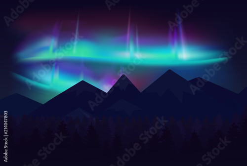Fotografija Vector beautiful northern lights aurora borealis in night sky over cartoon mountains