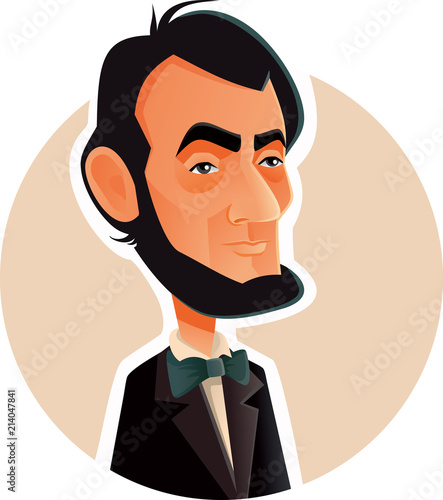 Abraham Lincoln Vector Caricature Illustration Canvas Print