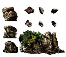 Set Of Different Stones Boulde...