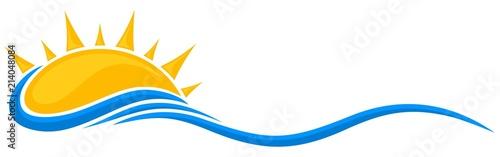 Fototapeta A symbol of dawn of the sun with a blue wave.  obraz