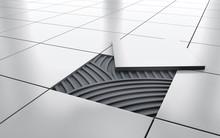 White Glossy Ceramic Tile Floor Repair. Background. 3d Rendering