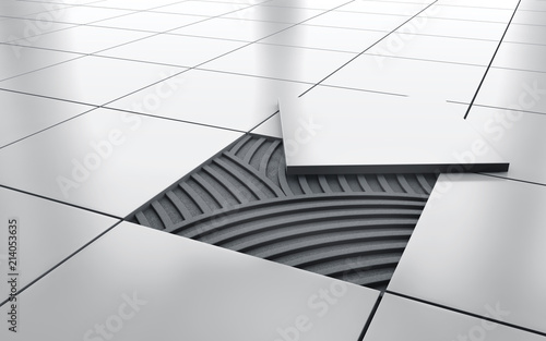 Foto White glossy ceramic tile floor repair. background. 3d rendering