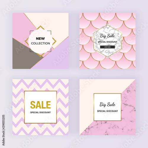 geometric sale web banners with pink triangles mermaid scales
