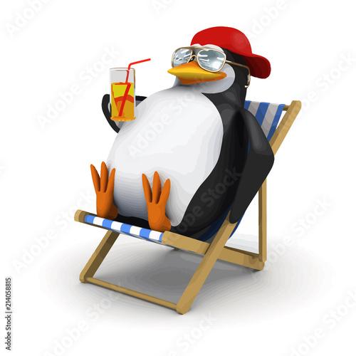 Fotografía Vector 3d Penguin relaxes in deckchair