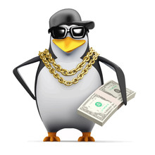 Vector 3d Rapper Penguin Holds...