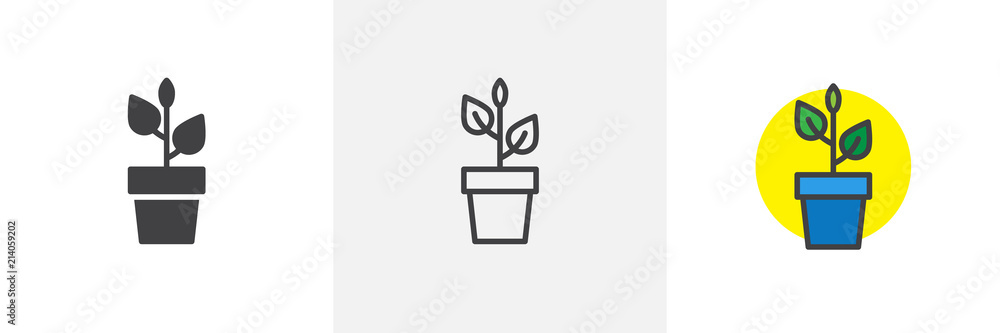 Fototapety, obrazy: Plant in flower pot icon. Line, solid and filled outline colorful version, outline and filled vector sign. Home plant symbol, logo illustration. Different style icons set. Pixel perfect vector
