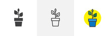 Plant In Flower Pot Icon. Line...