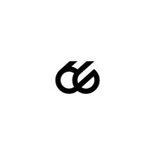 Sixty Six Number Double Line Art Outline Monoline Logo