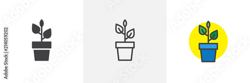 Plant in flower pot icon Canvas
