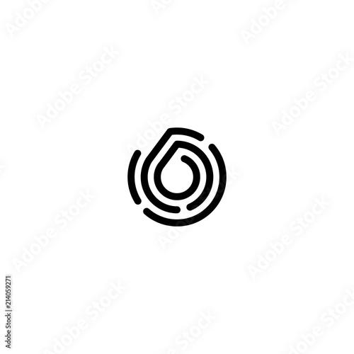 six number 6 double triple line art outline monoline logo Wallpaper Mural