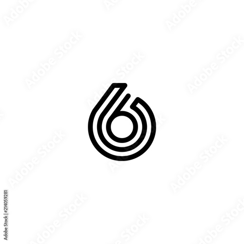 Photo six number 6 double triple line art outline monoline logo