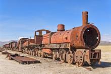 Old Train In The Train Cemetery Cementerio De Los Trenes, Uyuni, Bolivia, South America