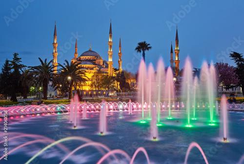 Colorful spring sunset in Sultan Ahmet park in Istanbul, Turkey, Europe.