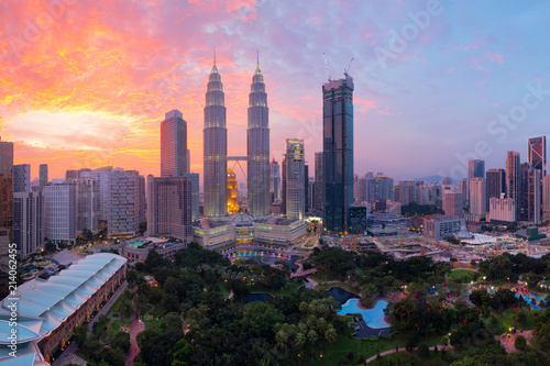 Top view of Kuala Lumpur skyline with beautiful sky at sunset.