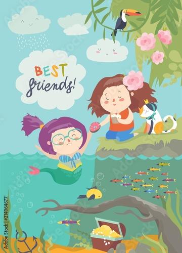Śliczna syrenka i dziewczyna są najlepszymi przyjaciółmi