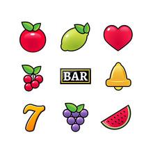Slot Machine Symbols Icons Set...