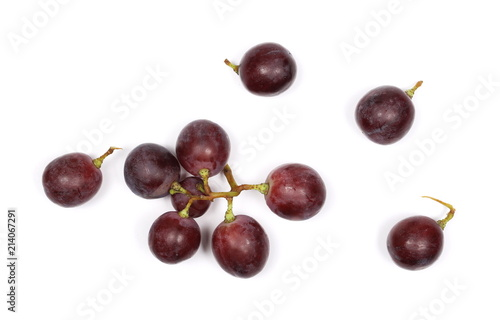 Foto  Cardinal grapes isolated on white background, top view