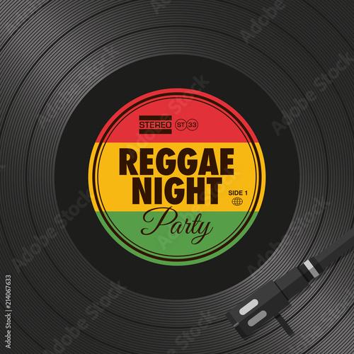 Fotografía Poster, flyer reggae night party, vinyl style