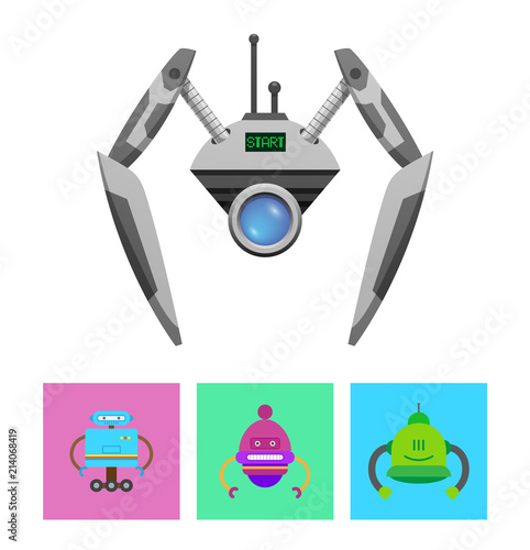 Fotografie, Obraz  Cute Droid with Green Start Message on Display