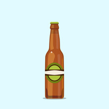 Attractive Beer Bottle On A Blue Background