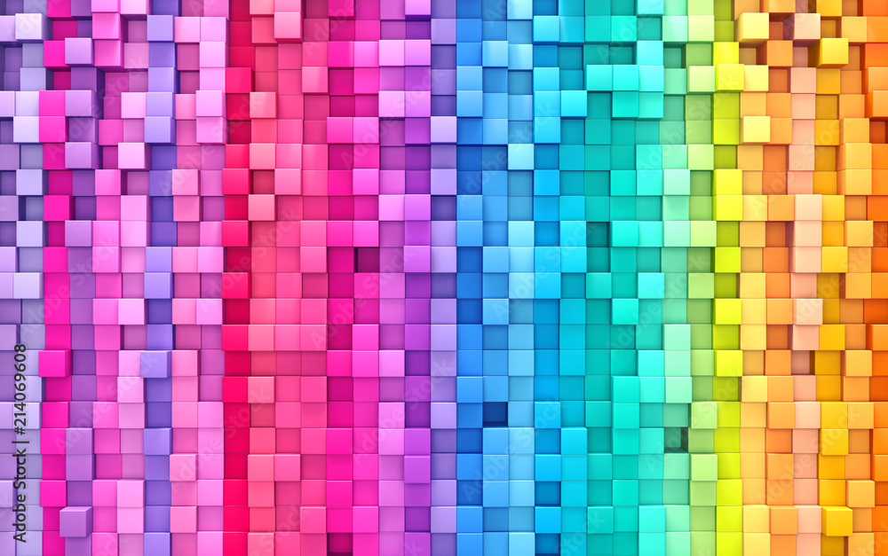 Fototapety, obrazy: 3D rendering abstract background colorful cubes wall