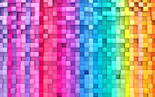 3D Rendering Abstract Background Colorful Cubes Wall