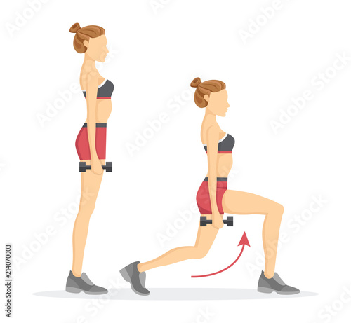 Photo Lunges Tabata Exercises Set Vector Illustration