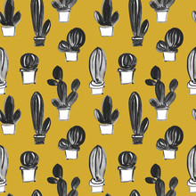 Seamless Hand Drawn Artistic Pattern With Cacti In Naive Childlike Style. Gouache And Watercolor Painting Of Succulent Plants.