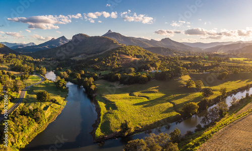 Poster Rivière de la forêt Drone view of Tweed River and Mount Warning, New South Wales, Australia