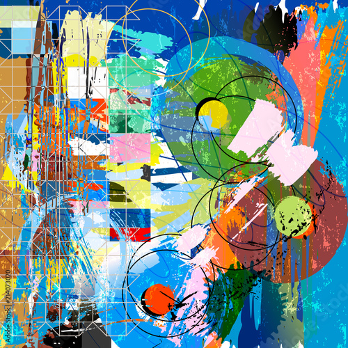 abstract background composition, with circles, paint strokes, splashes and geometric lines