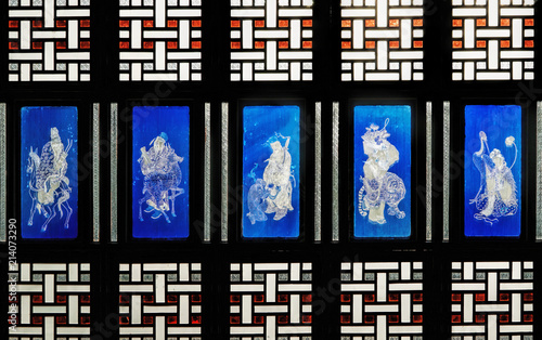 Photo Chinese stained glass window in traditional style