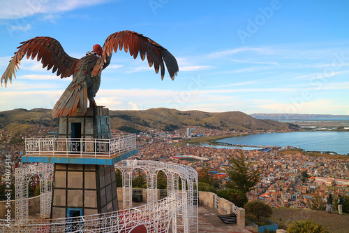 Poster South America Country Lake Titicaca and the City of Puno as seen from Condor Hill View Point or Mirador de Kuntur Wasi, Puno, Peru