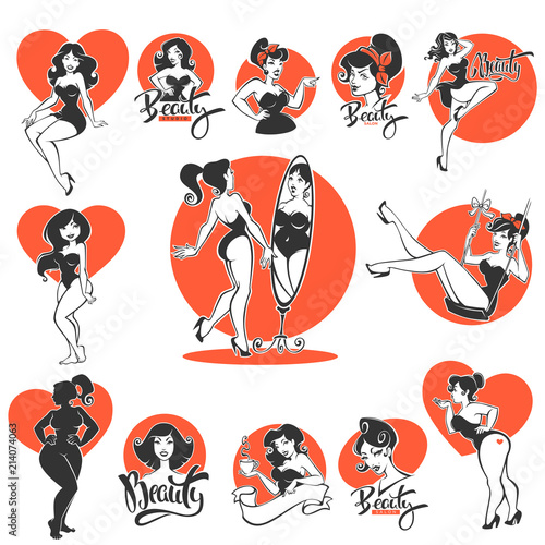 Fototapeta beauty and sexy, large collection of pinup girls and lettering compositions