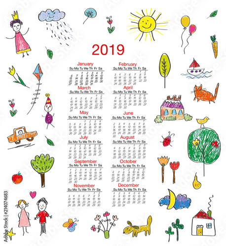 Calendar Drawing For Kids : Funny calendar with kids drawings for children